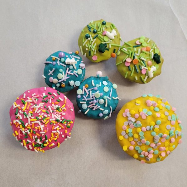 Pup Dog Cakes yellow blue green pink