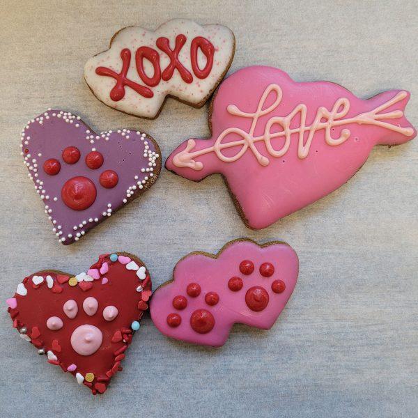 Seasonal Decorated hearts pink red purple