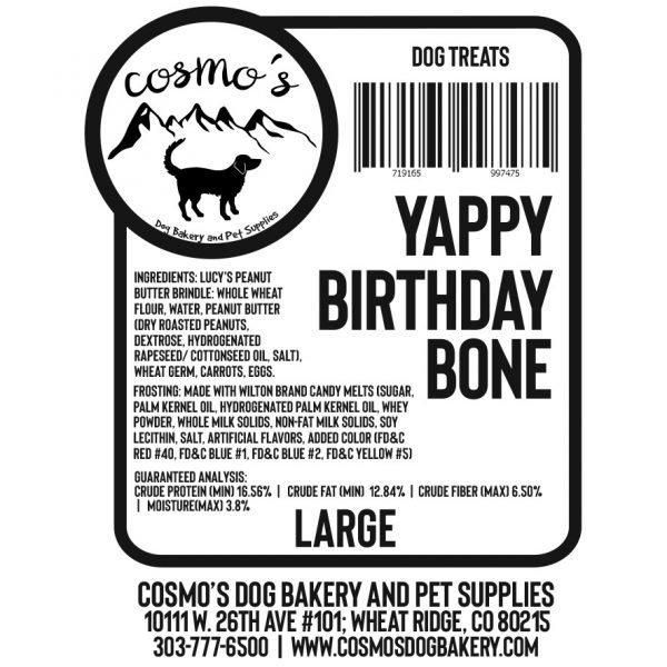 Yappy Birthday Bone Large label