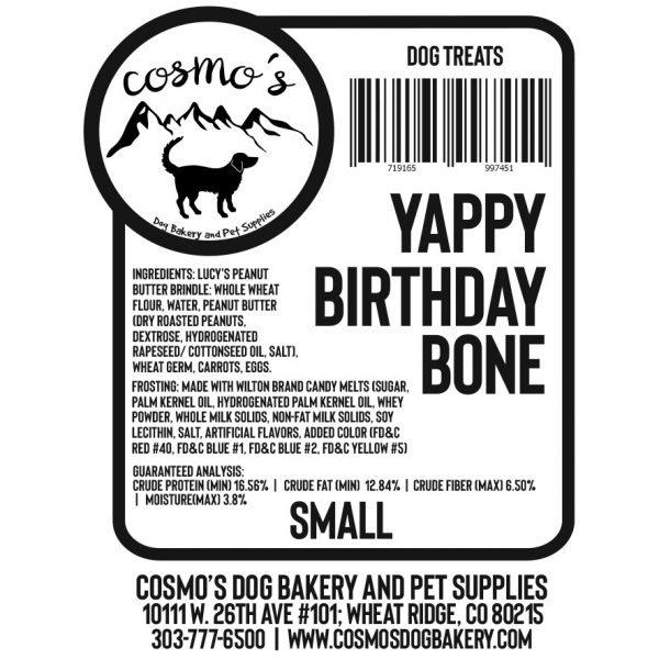 Yappy Birthday Bone Small label