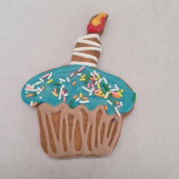 Seasonal Decorated cupcake blue dog treat