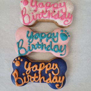 Yappy Birthday Bones trio dog treats
